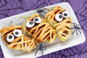 Stuffed peppers look like a mummies for Halloween